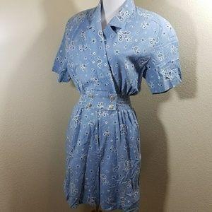 Vintage Joan Walters western cotton romper small